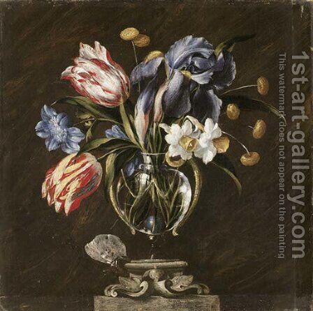 Tulips, daffodils, irises and other flowers in a glass vase on a sculpted stand, with a butterfly by (after) Juan De Arellano - Reproduction Oil Painting