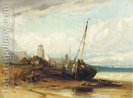 On the beach at low tide by (after) Noel, Jules Achille - Reproduction Oil Painting