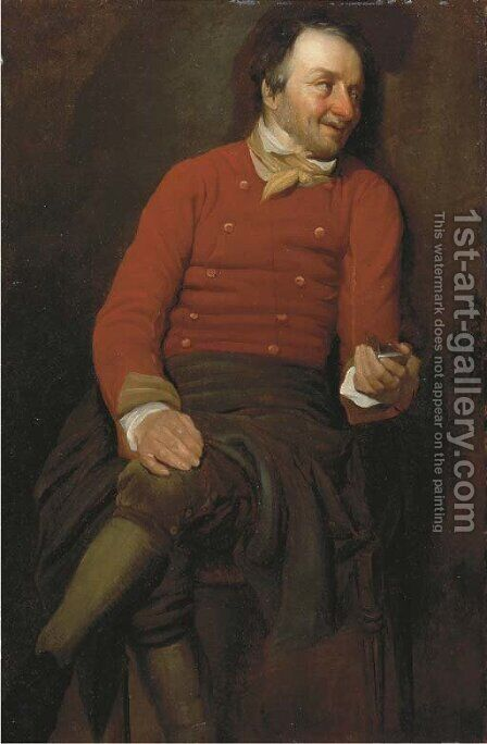 A study of a man, in a red vest, holding a snuff box in his left hand by (after) Julius Henricus Quinkhard - Reproduction Oil Painting
