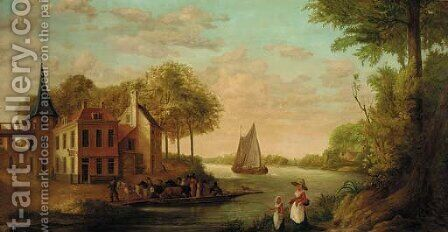 Peasants and horses disembarking from a ferry near the Star Inn by (after) Juriaan Andriessen - Reproduction Oil Painting