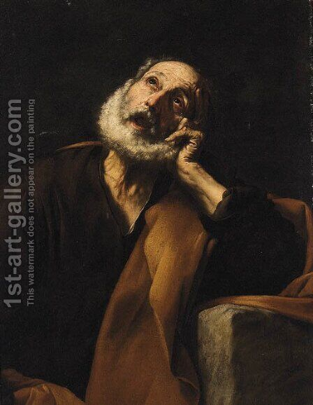The Penitent Saint Peter by (after) Juseppe De Ribera - Reproduction Oil Painting