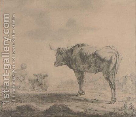 A bull looking over a resting drover by (after) Karel Dujardin - Reproduction Oil Painting