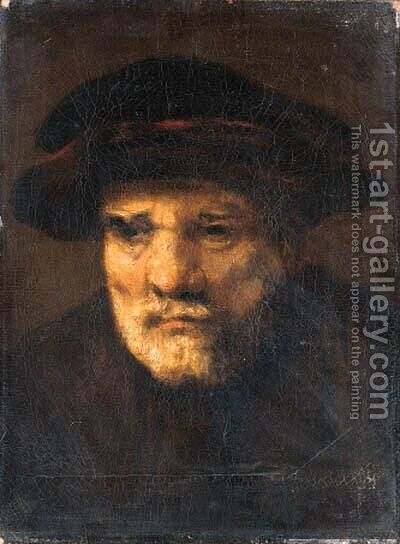 Head of a bearded old man by (after) Karel Van Der Pluym - Reproduction Oil Painting