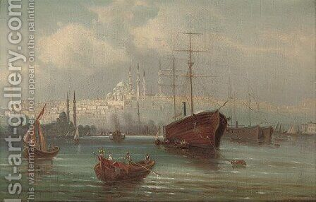 Trading vessels before a mosque on the Golden Horn by (after) Karl Kaufmann - Reproduction Oil Painting