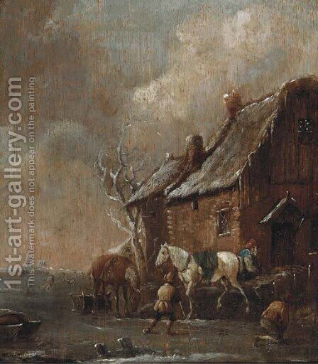 A winter landscape with figures skating and playing kolf on a frozen river by a farm by (after) Claes Molenaar (see Molenaer) - Reproduction Oil Painting