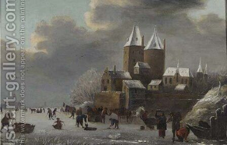 A winter landscape with peasants skating on a frozen river before a castle by (after) Claes Molenaar (see Molenaer) - Reproduction Oil Painting