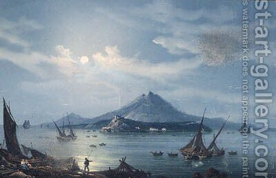 Fishing Vessels in the Bay of Naples at Night, with a View of Vesuvius beyond by (after) La Pira - Reproduction Oil Painting