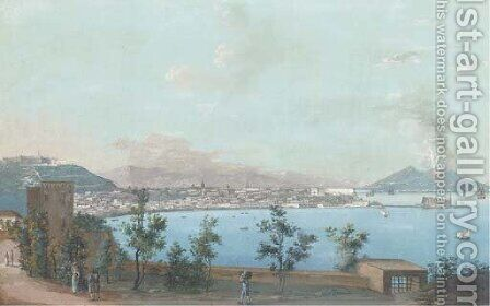 The Neapolitan coast with Mount Vesuvius erupting beyond by (after) La Pira - Reproduction Oil Painting