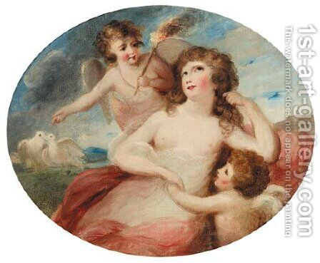 Portrait of a lady with angels by (after) Lady Diana Beauclark - Reproduction Oil Painting