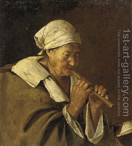 An old woman playing a flute by (after) Lambert Jacobsz Or Jacobs - Reproduction Oil Painting