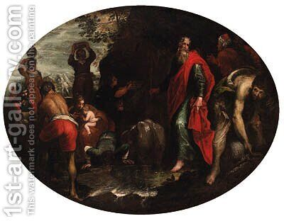 Moses striking the Rock by (after) Leandro Bassano - Reproduction Oil Painting