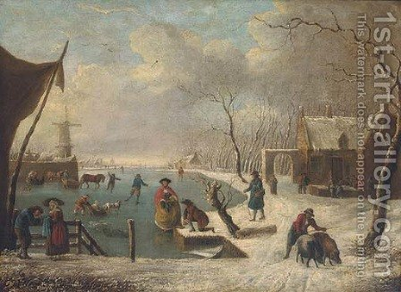 Dutch skaters and tradesmen at a frozen waterway by (after) Leendert De Koningh - Reproduction Oil Painting