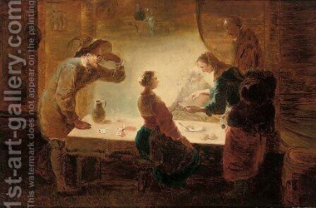 A fortune-teller reading a young girl's palm at a table, with three men watching by (after) Leonaert Bramer - Reproduction Oil Painting