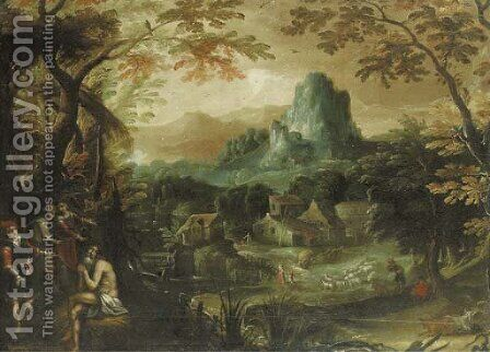 A wooded river landscape with Saint Onophrius by (after) Lodovico Pozzoserrato (see Toeput, Lodewijk) - Reproduction Oil Painting