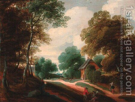 A wooded landscape with travellers conversing on a track by (after) Lodewijk De Vadder - Reproduction Oil Painting