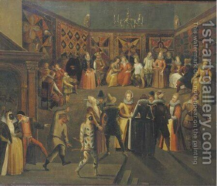 A masked ball by (after) Louis De Caullery - Reproduction Oil Painting