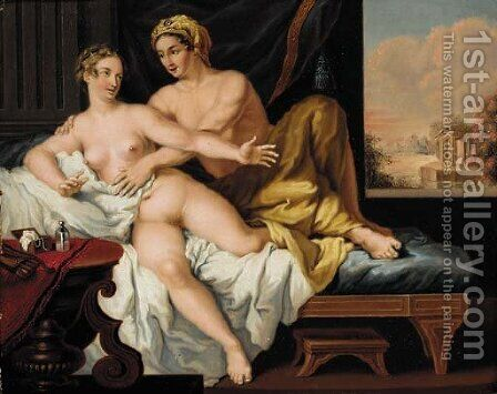 An amorous couple in an interior by (after) Louis Leopold Boilly - Reproduction Oil Painting