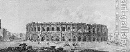 The Roman arena at Nimes by (after) Louis Jean Desprez - Reproduction Oil Painting
