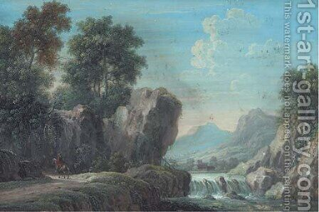 A mountainous, wooded river landscape with a figure on horseback on a path; and A wooded landscape with travellers on a track by (after) Louis Nicolael Van Blarenberghe - Reproduction Oil Painting