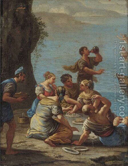 Figures on a shore eating pasta and drinking wine by (after) Luca Giordano - Reproduction Oil Painting