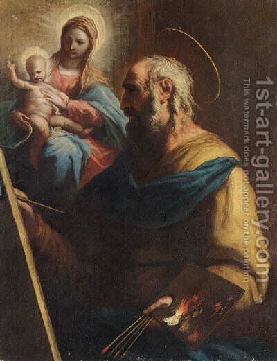 Saint Luke painting the Madonna and Child by (after) Luca Giordano - Reproduction Oil Painting
