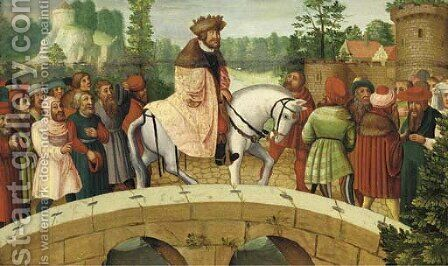 A nobleman accompanied by peasants and burghers outside a town by (after) Lucas The Elder Cranach - Reproduction Oil Painting