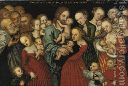 'Christ suffering the Children to come unto Him' by (after) Lucas The Younger Cranach - Reproduction Oil Painting