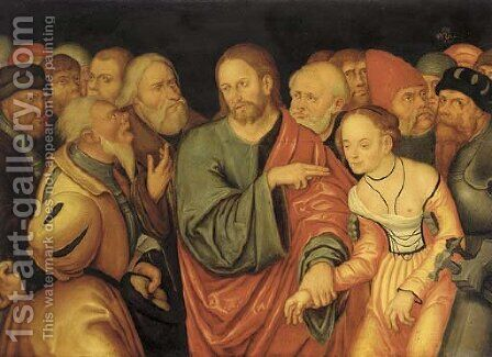 Christ and the Adulteress by (after) Lucas The Younger Cranach - Reproduction Oil Painting