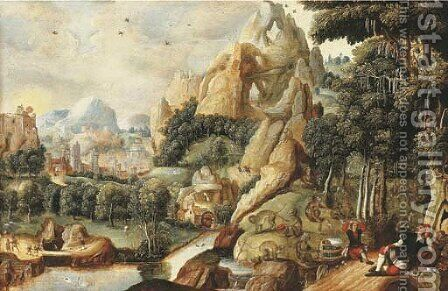 A landscape with monkeys and humans and a mythical city beyond by (after) Lucas Gassel - Reproduction Oil Painting