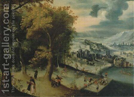 A mountainous river landscape with travelling pilgrims, towns beyond by (after) Lucas Gassel - Reproduction Oil Painting