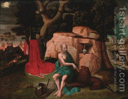 Saint Jerome in the wilderness by (after) Lucas Gassel - Reproduction Oil Painting