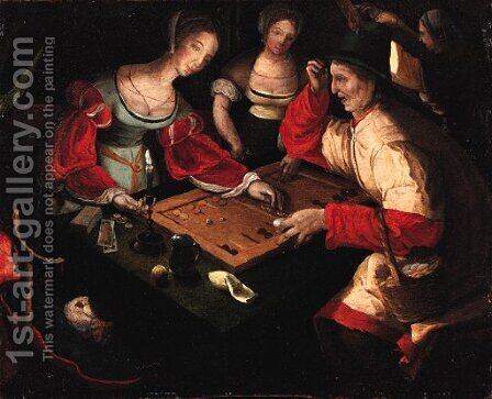 Figures playing backgammon in an interior by (after) Lucas Van Leyden - Reproduction Oil Painting