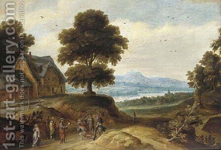 A wooded river landscape with Christ and the Centurion by (after) Lucas Van Uden - Reproduction Oil Painting