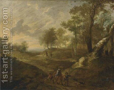 A wooded landscape with huntsmen on a path by (after) Lucas Van Uden - Reproduction Oil Painting
