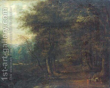 A wooded landscape with travellers on a track by (after) Lucas Van Uden - Reproduction Oil Painting