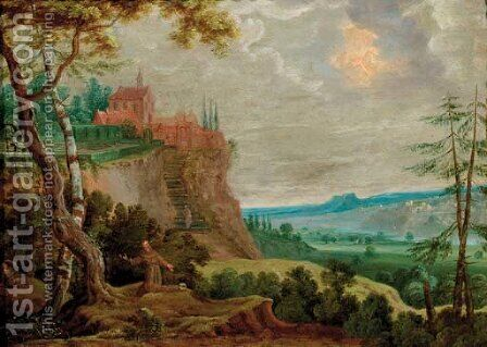 The Penitent Saint Francis in a landscape by (after) Lucas Van Uden - Reproduction Oil Painting