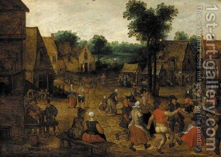 A village kermesse by (after) Lucas Van Valckenborch - Reproduction Oil Painting