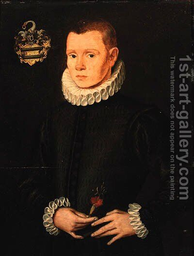 Portrait of a young gentleman by (after) Ludger Tom The Younger Ring - Reproduction Oil Painting