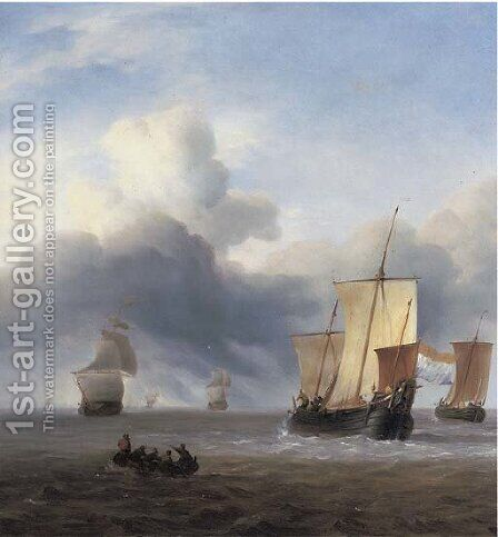 Shipping in calm waters by (after) Ludolf Backhuyzen - Reproduction Oil Painting