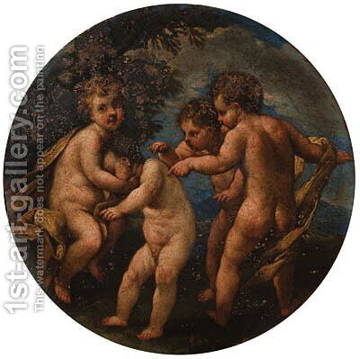 Putti disporting in landscapes by (after) Marcantonio Franceschini - Reproduction Oil Painting