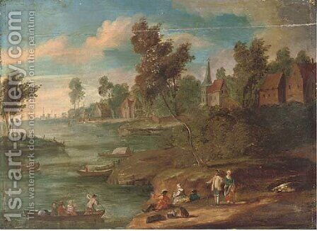 A river landscape with figures at rest on the river bank, a town beyond by (after) Marc Baets - Reproduction Oil Painting