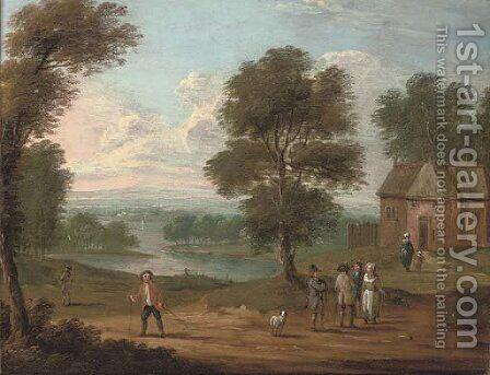 A river landscape with figures on a track, a cottage beyond by (after) Marc Baets - Reproduction Oil Painting