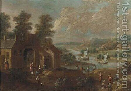 An extensive river landscape with figures by a village by (after) Marc Baets - Reproduction Oil Painting