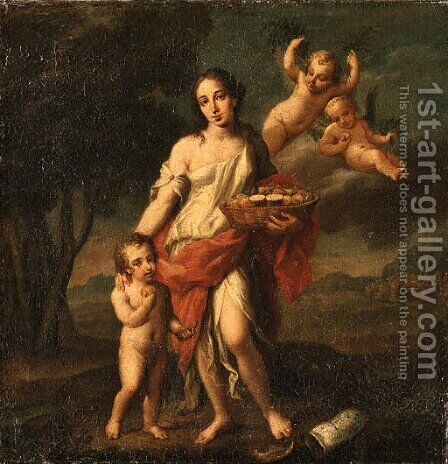 A Woman holding a Basket of Fruit with a Child and Putto by (after) Marcantonio Franceschini - Reproduction Oil Painting