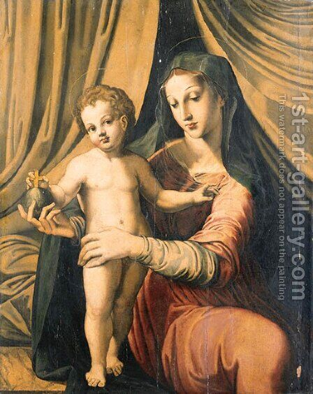 The Madonna and Child before a Curtain by (after) Marco Pino - Reproduction Oil Painting