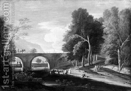 Extensive wooded landscapes with shepherds by a bridge and a lake by (after) Marco Ricci - Reproduction Oil Painting