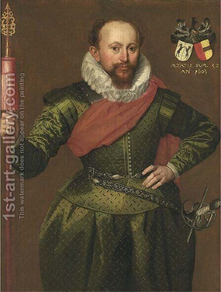 Portrait of a Captain of the Trainband by (after) Marcus The Younger Gheeraerdts - Reproduction Oil Painting