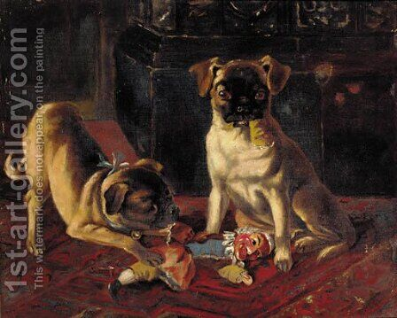 Trouble in store, two pugs by (after) Margaret Collyer - Reproduction Oil Painting
