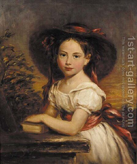Portrait of a girl by (after) Margaret Sarah Carpenter - Reproduction Oil Painting