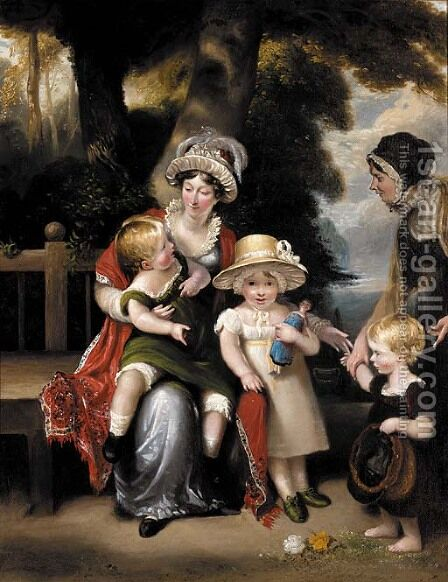 Portrait of a mother with her three children by (after) Margaret Sarah Carpenter - Reproduction Oil Painting